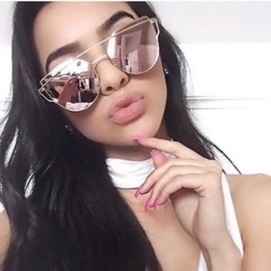 ⬇️ Rose Gold Cat Eye Mirrored Sunglasses polarized